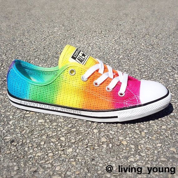 dd77915937b6 RAINBOW CROCHET Converse Custom Tie Dye Converse  rainbow  crochet  tiedye   converse