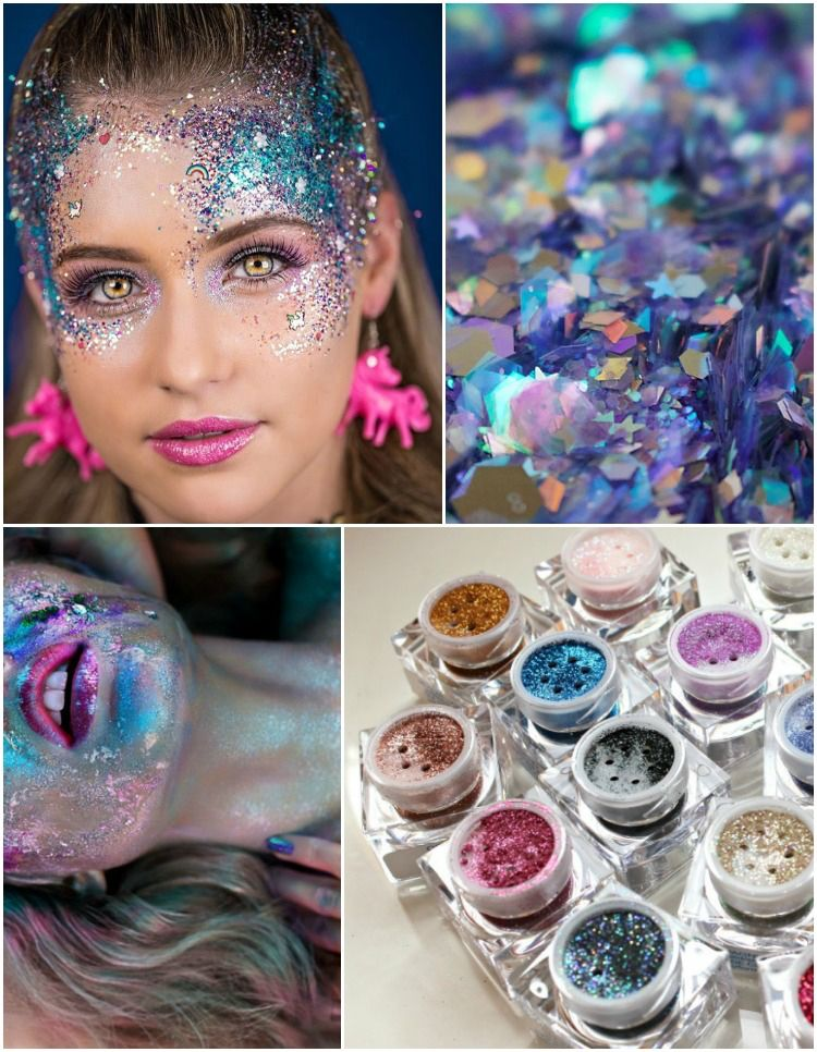 Einhorn Kostum Damen Make Up Schminke Glitzer Karneval Make Up