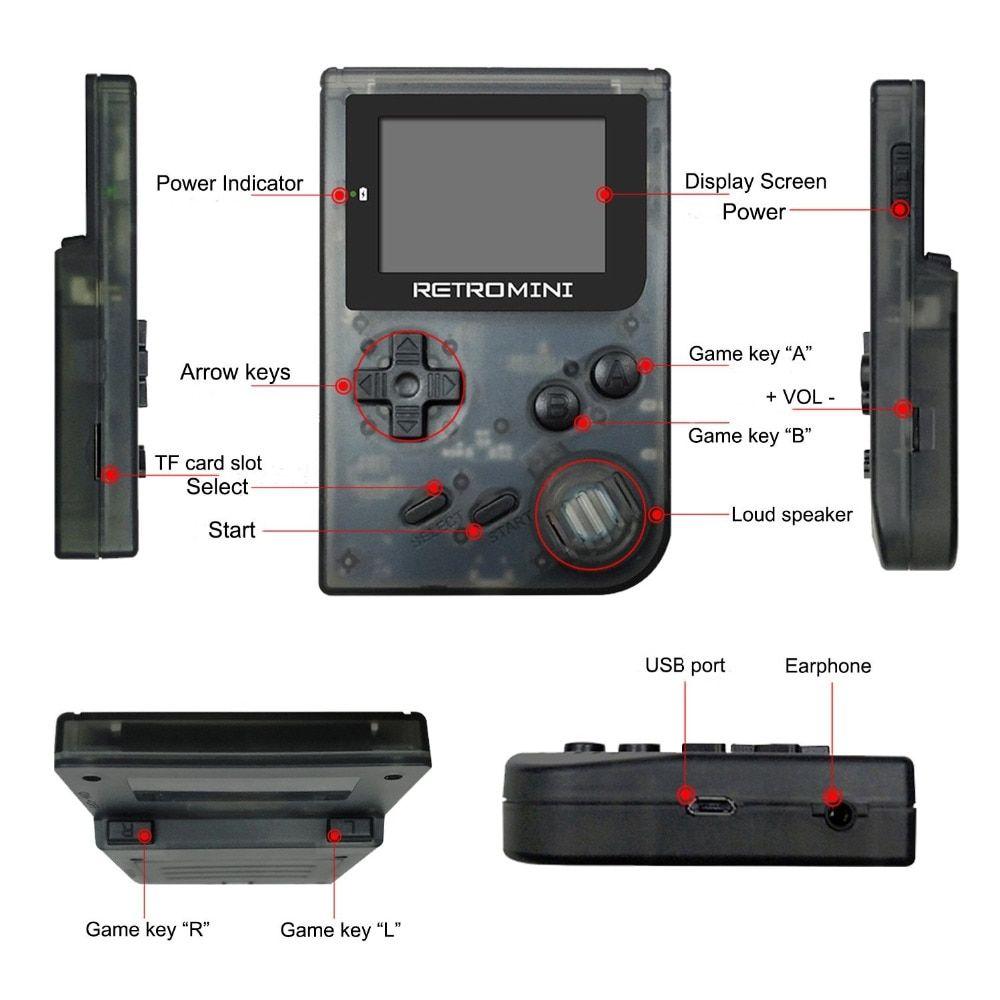 TSINGO Mini Handheld Game Player 32Bit Built-in 169 Classic English