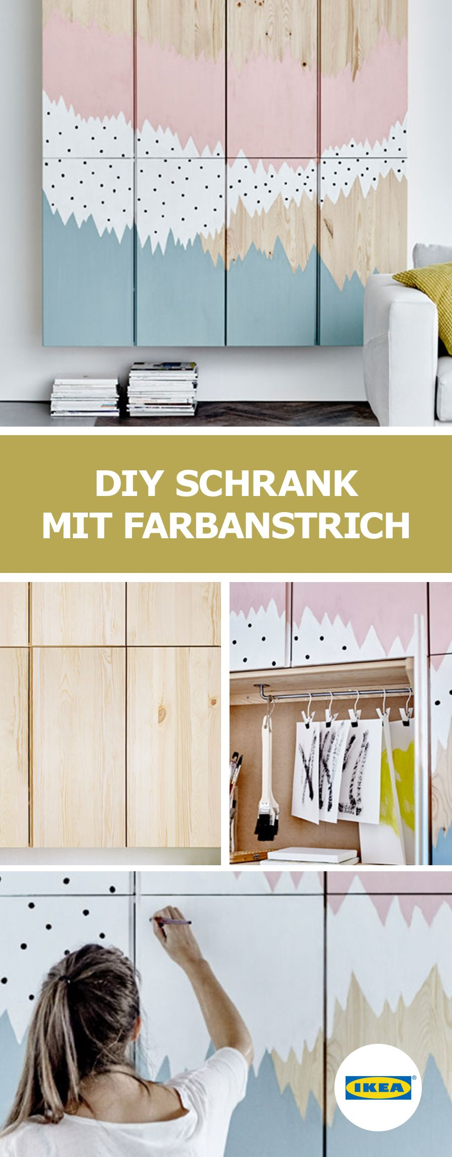 ikea deutschland diy schrank mit farbanstrich diy ideas pinterest ikea hack diys and. Black Bedroom Furniture Sets. Home Design Ideas