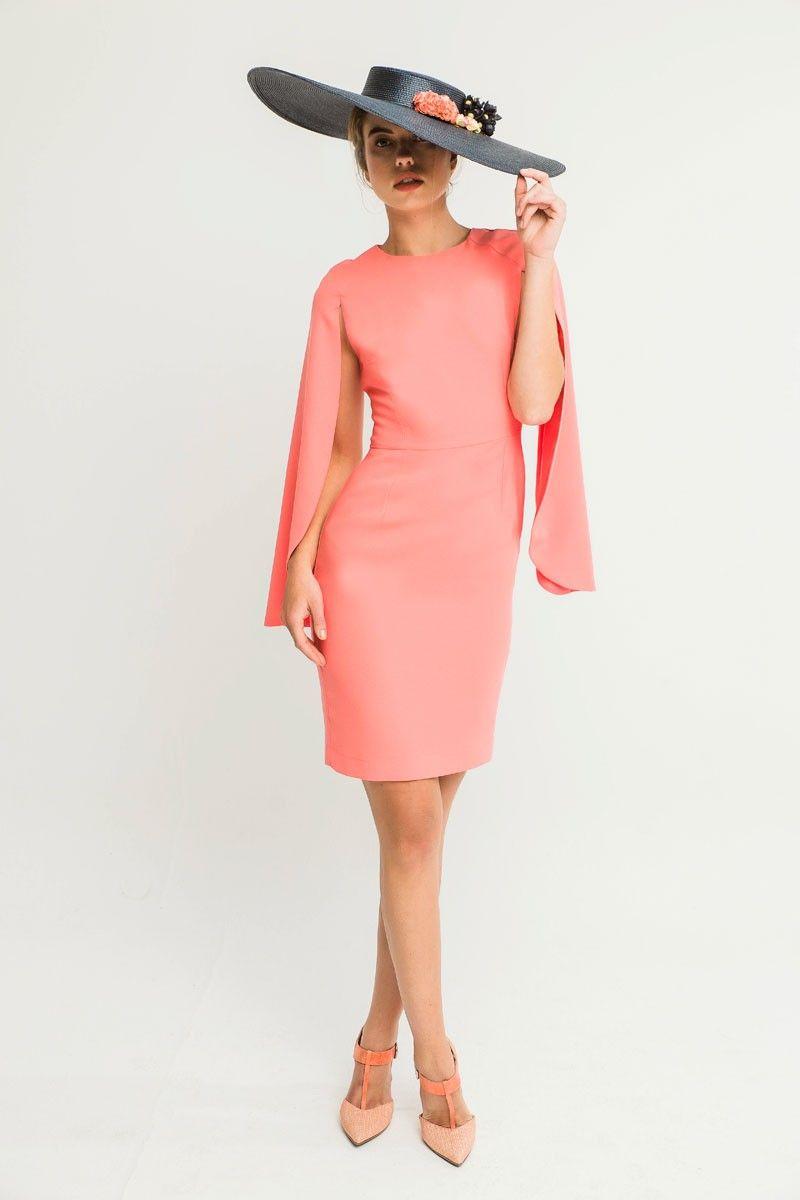 Vestido Corto Coral Mangas Capa Lía | Coral, Vestidos cortos y Cintura