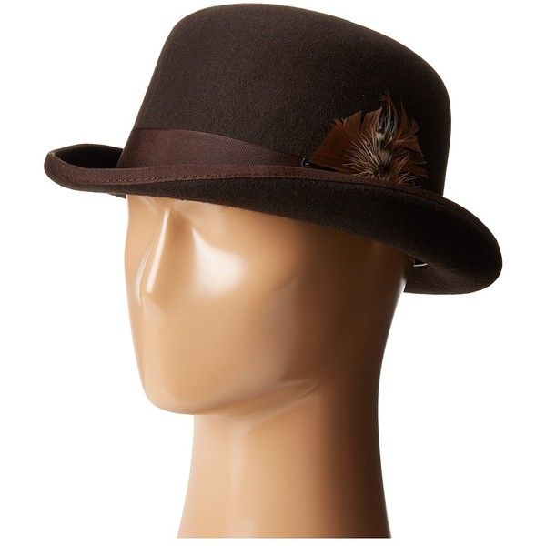 4039bf30a5f SCALA Wool Felt Derby Hat with Grosgrain Trim (Chocolate) Caps ( 50) ❤  liked on Polyvore featuring men s fashion
