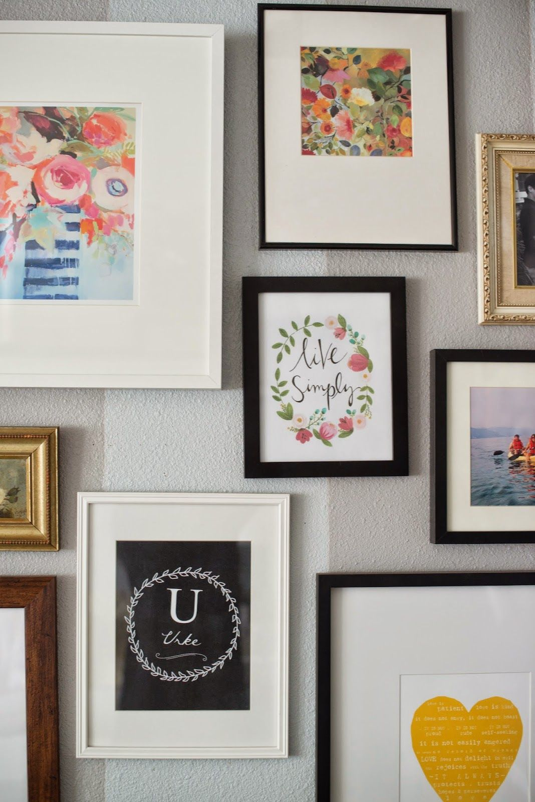Another eclectic gallery wall black white gold and wood another eclectic gallery wall black white gold and wood frames jeuxipadfo Image collections