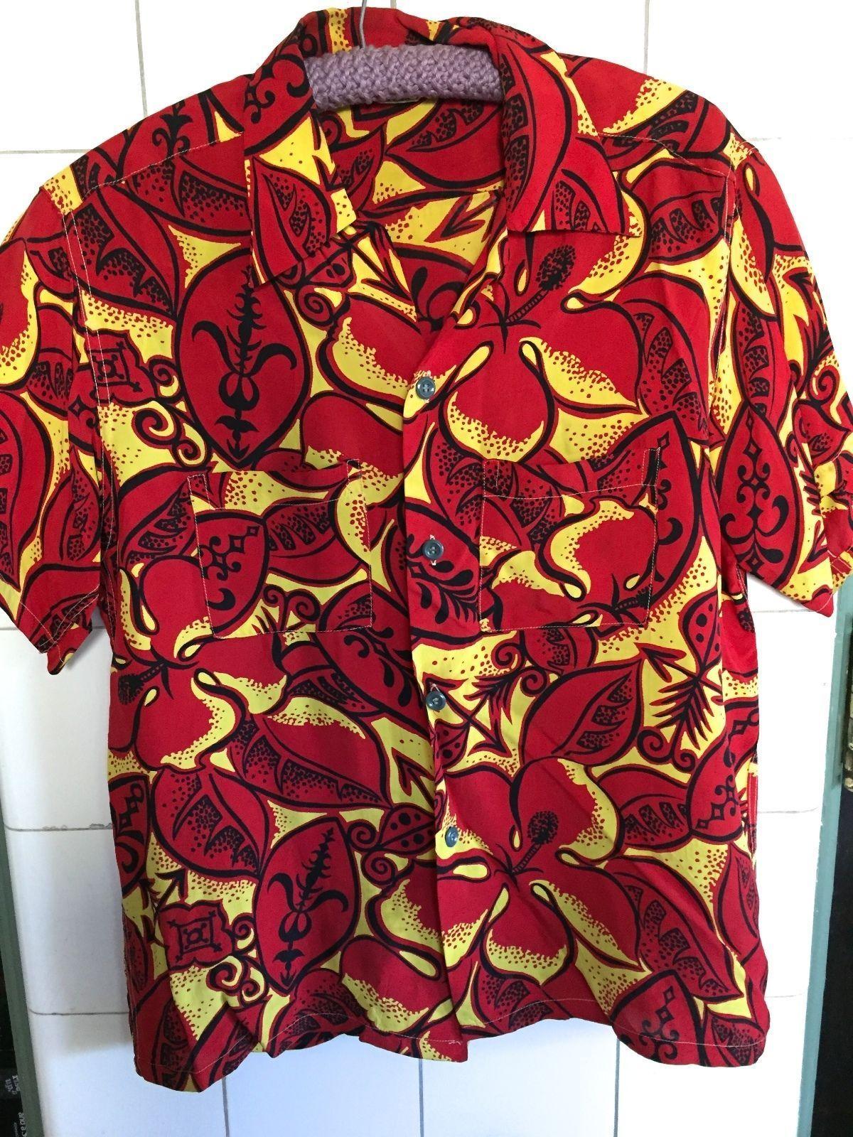 1950s Pomare Barkcloth Tiki Tribal Button Down Vintage Hawaiian Shirt 5oPzb