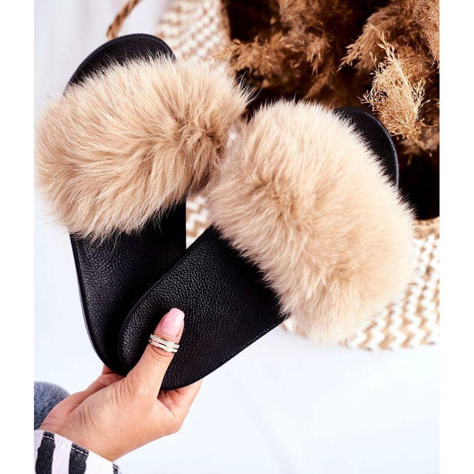 Klapki Damskie Z Naturalnym Futerkiem Bezowe Bushido Bezowy Shoes Fashion Fur Slides