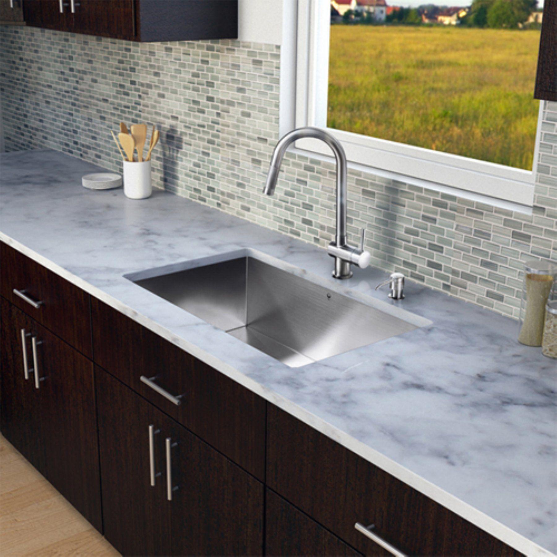 Vigo Vg15150 Single Basin Undermount Kitchen Sink And Faucet Set