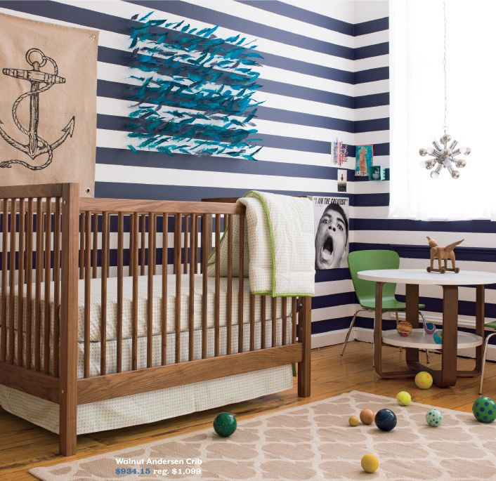 Love everything about this room! Scheme, colors, anchor burlap art, feather mobile,etc