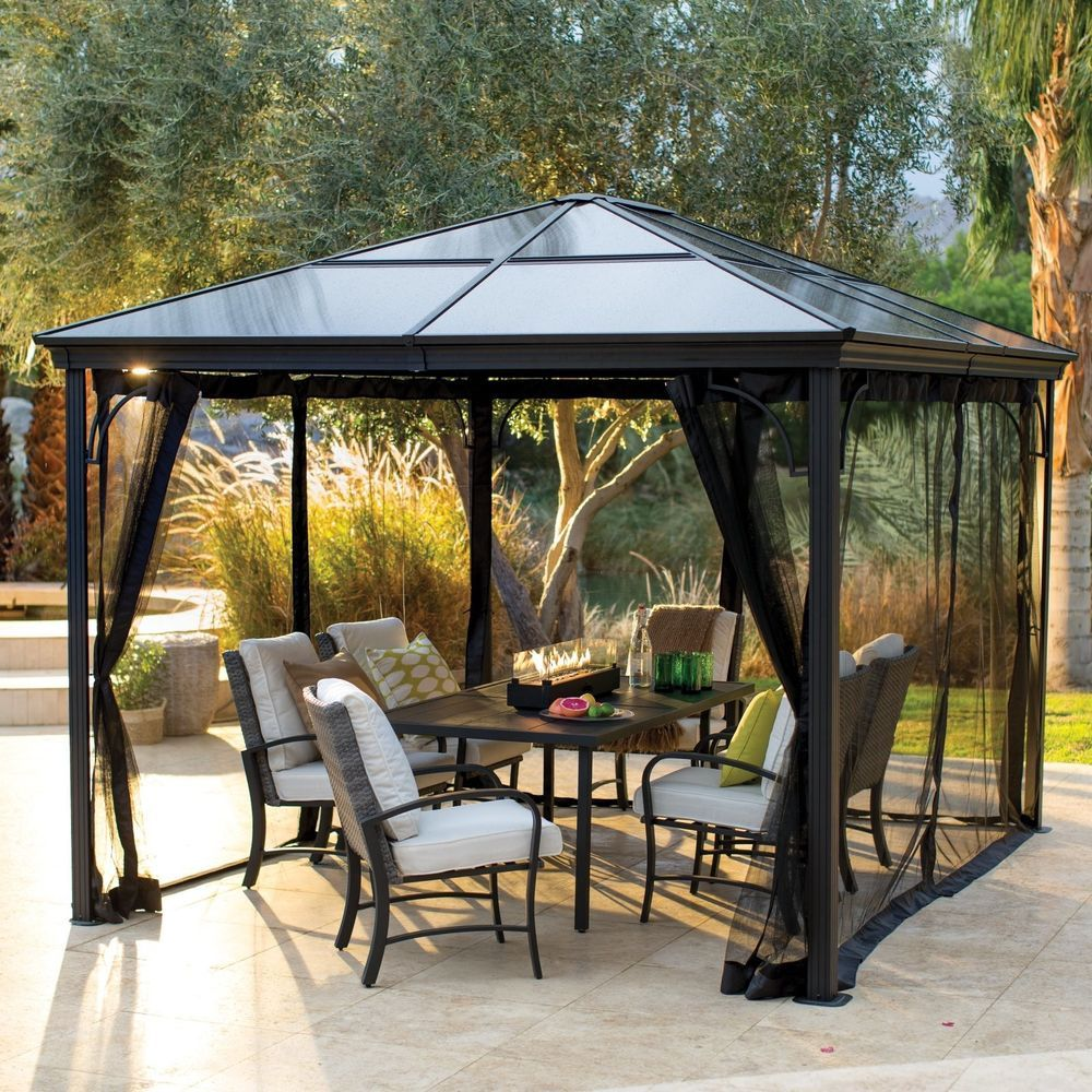 12x10 Gazebo With Netting Polycarbonate Hardtop Steel Black Frame Patio Mosquito Gardenideas Gazebo Gazebos Backya Patio Gazebo Outdoor Patio Shades Gazebo