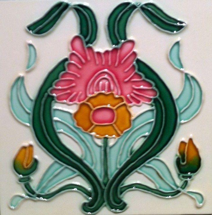 Ceramic Tile Art | Art Nouveau Majolica Ceramic Tile'