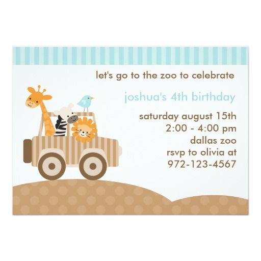 Zoo Safari Invitation Card