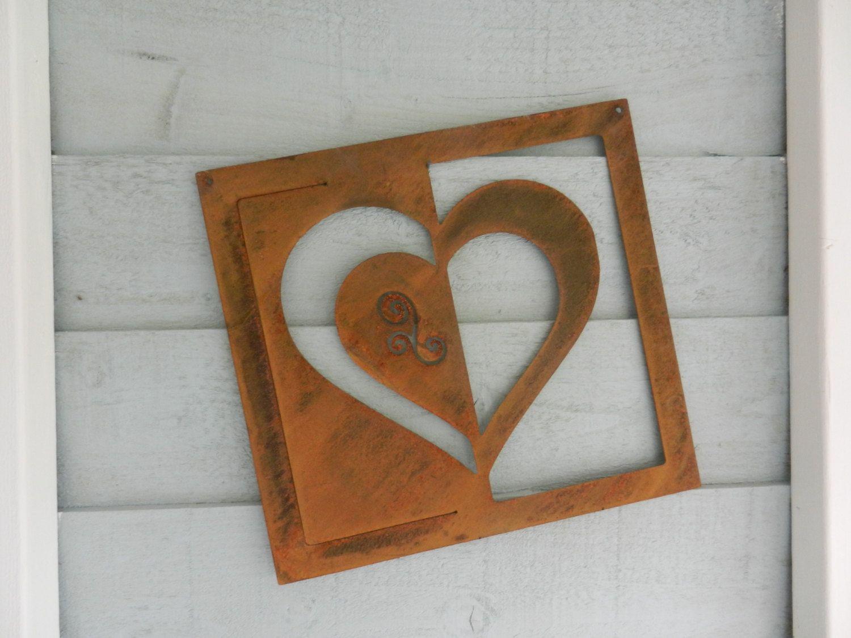 Garden wall plaque - Heart Rusty Metal Wall Art Valentines Wall Plaque Heart Metal Garden Decoration Heart Gift Metal Garden Art Garden Wall Decor