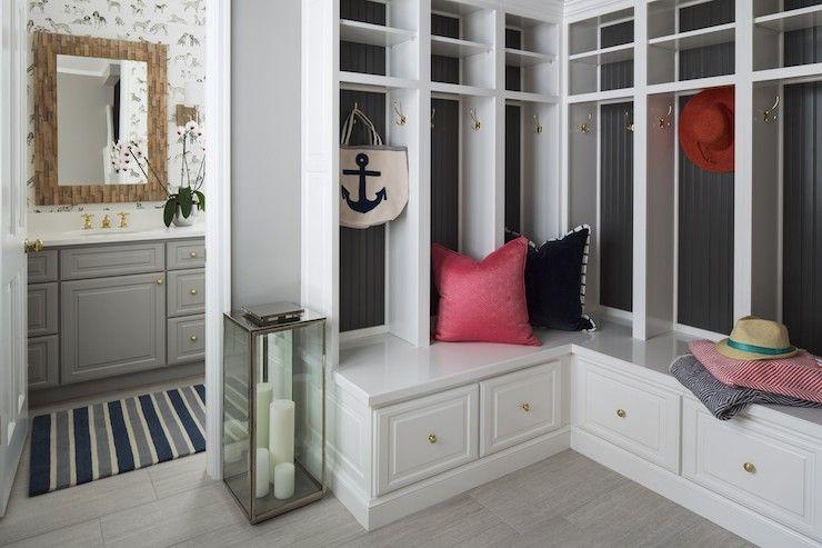 Family Friendly Mud Room With Adjoining Bathroom Featuring Gray Built In Vanity Painted Benjamin Moore Ozark Sha Mudroom Lockers Mudroom Design Mudroom Cubbies