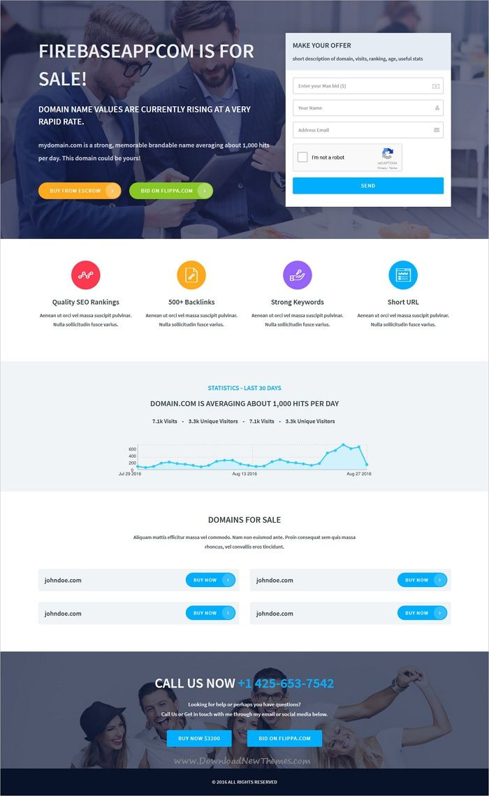 Domain Broker & Domain For Sale Template   Template