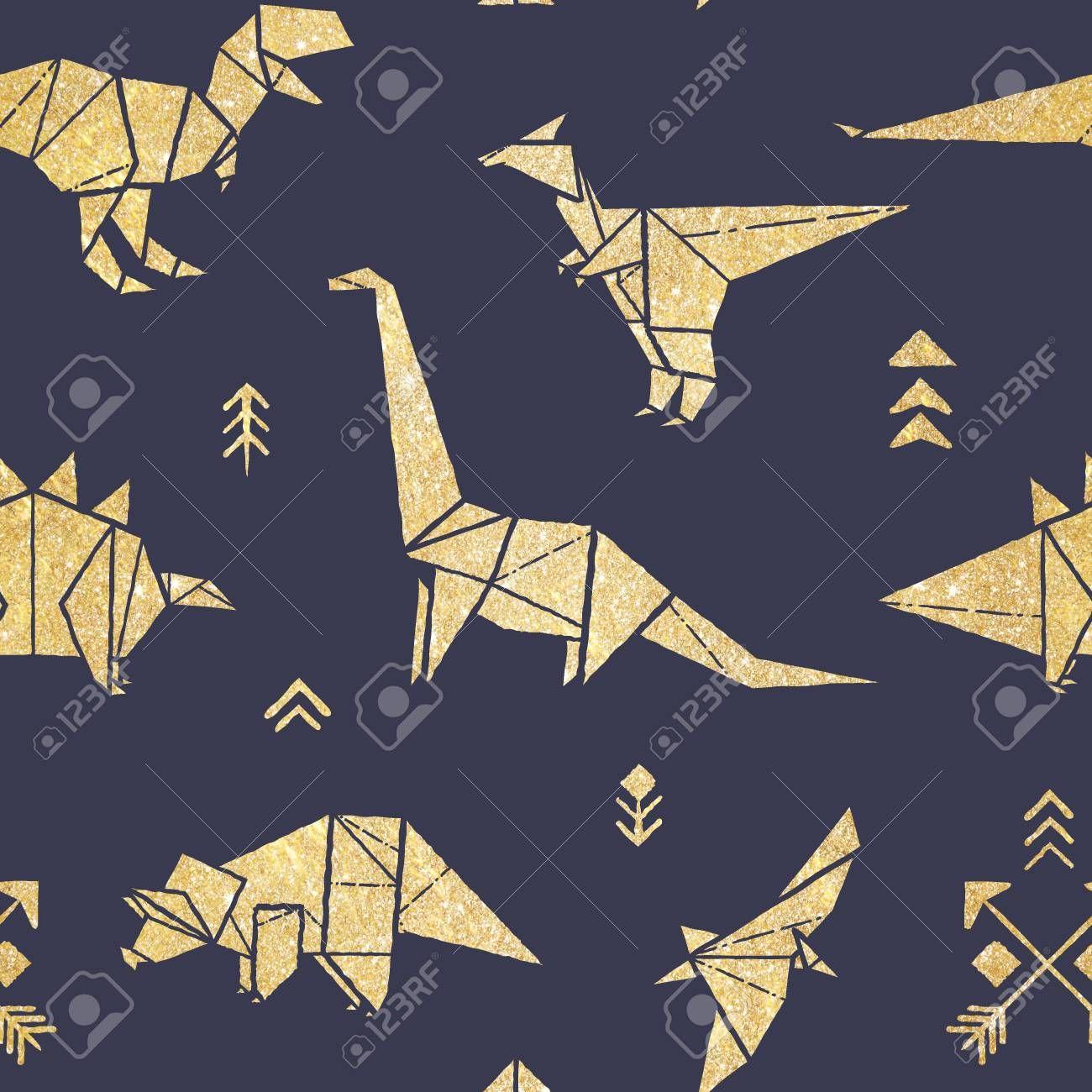 Photo of Nahtloses Muster mit goldenen Origami-Dinosauriern lokalisiert auf Marineblau-Hintergrund ….