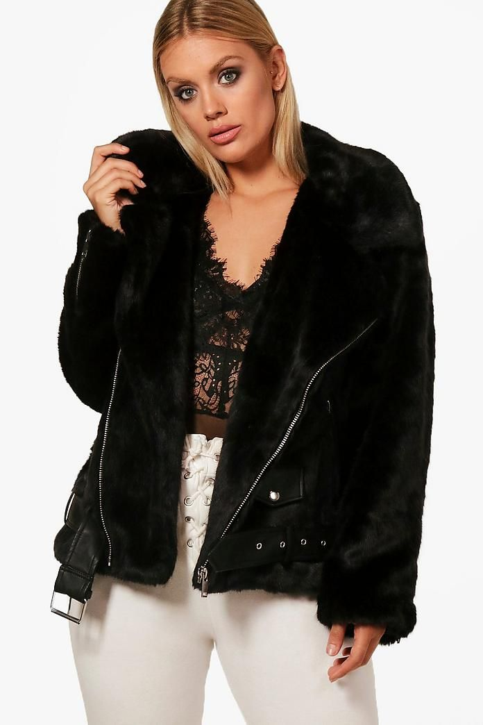 085317df7d Plus Faux Fur and PU Trim Aviator Jacket in 2019