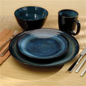 Oneida Adriatic Stoneware Dinnerware Round - Set of 16 (Blue) & Oneida Adriatic Stoneware Dinnerware Round - Set of 16 (Blue ...