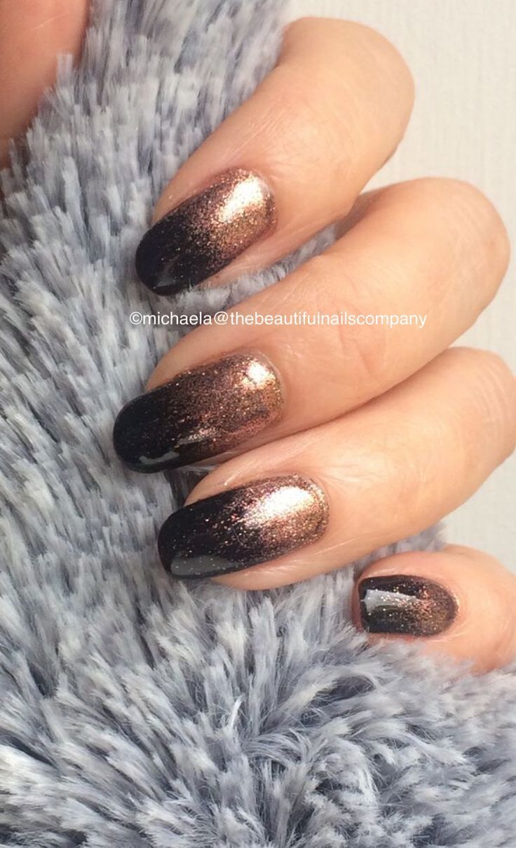 Black with rose gold glitter by michaela the beautiful Nails Company  Today Pin  Black with rose gold glitter by michaela Matty beautiful Nails Company