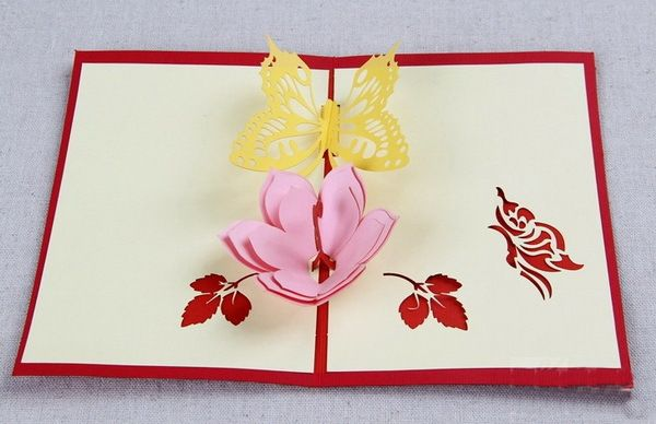 5pcs Lot 3d Pop Up Card Diy Drawing Flower Butterfly Bowl Design Card For Wedding Birthday V Christmas Gift Card Pop Up Greeting Cards Diy Christmas Gifts
