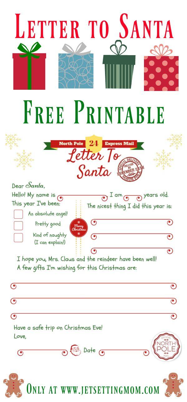 Print Your Own Letter To Santa  Free Santa Letter Printable