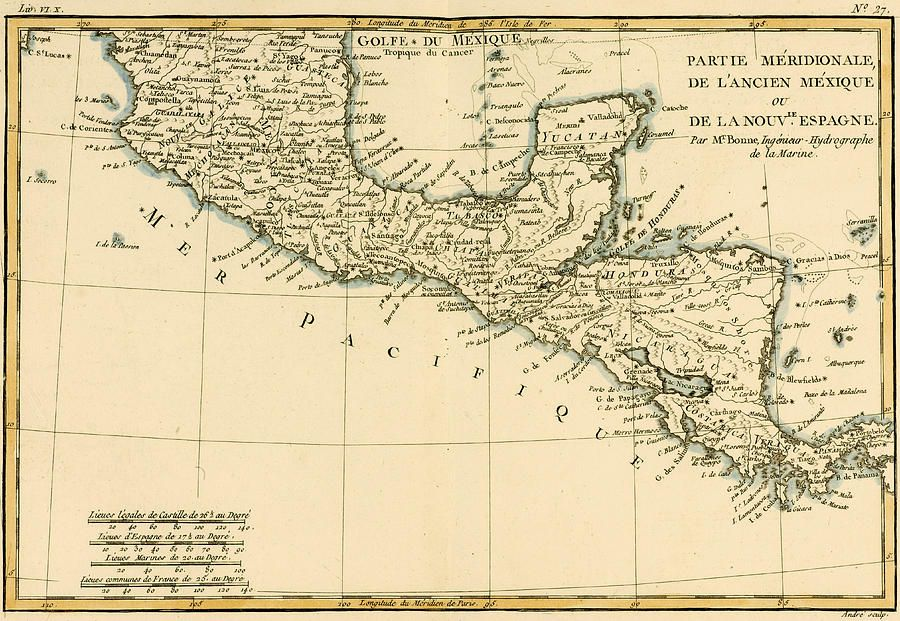Antique Map Of Southern Mexico Drawing by Guillaume Raynal maps