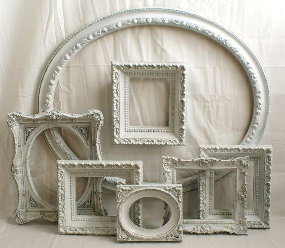 Shabby Chic Picture Frames Set Lot Gloss White Cottage