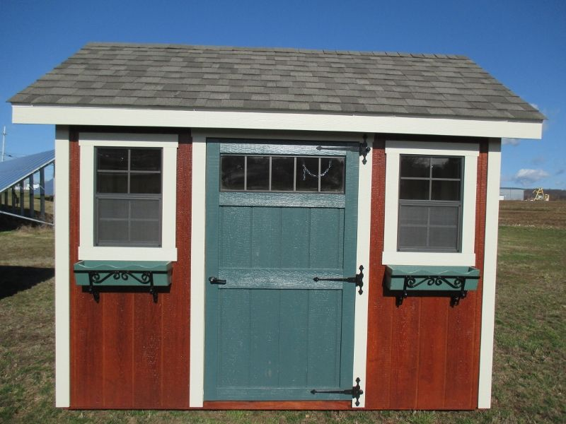 8x10 a frame garden shed mahogany stained siding nj white trim weatherwood - Garden Sheds Nj