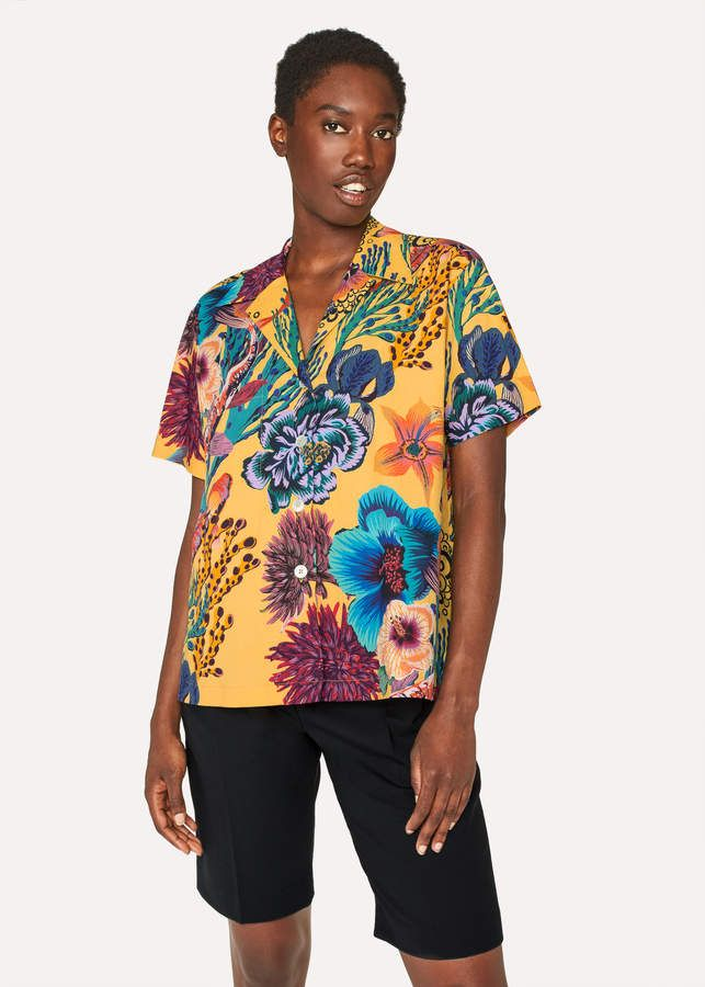 b549ce5e6 Paul Smith Women's Yellow 'Ocean' Print Hawaiian Shirt | Products ...
