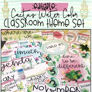 Cactus Water Color Classroom Theme Set {Editable} Table signs