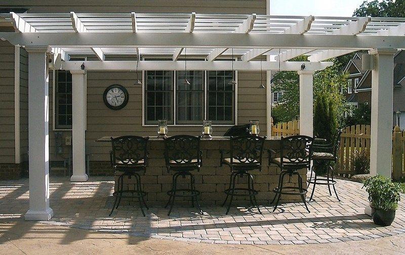 Pendant Track Lighting Outdoor Kitchen Pergola Pergola And Patio Cover Carville Landscape Co Glen Allen Va Patio Pergola Pergola Patio