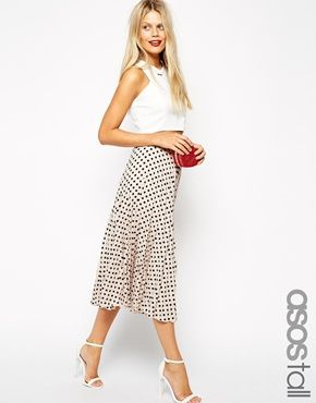 b2ff99fe2cd8 ASOS TALL Spot Print Pleated Midi Skirt | Fashion Inspiration ...