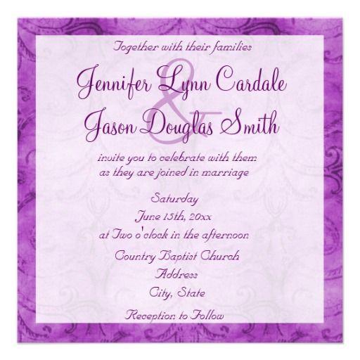 Vintage Distressed Purple Swirl Wedding Invitation