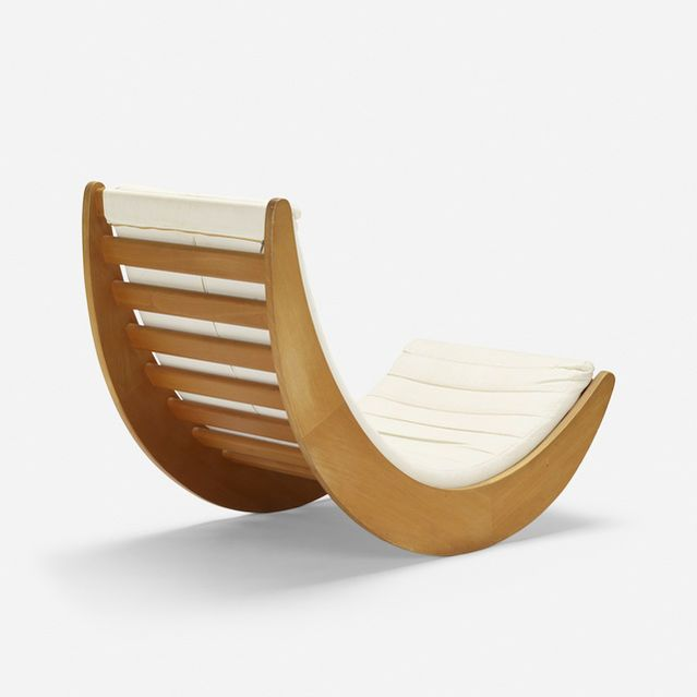 Verner Panton, Rosenthal StudioLine   Relaxer 2 rocking chair (1974)   Artsy is part of Painted rocking chairs - From Wright, Verner Panton, Rosenthal StudioLine, Relaxer 2 rocking chair (1974), Beech, upholstery, 31 × 25 × 37 in