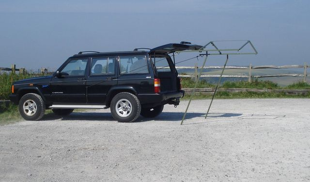 Pictures Of The Jeep Tent For Xj Jeep Cherokee At Burnbake Camp Site Land Rover Camping Jeep Tent Jeep Cherokee