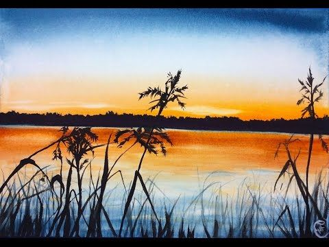 Watercolor Sunset Painting With Gouache Full Video Demonstration