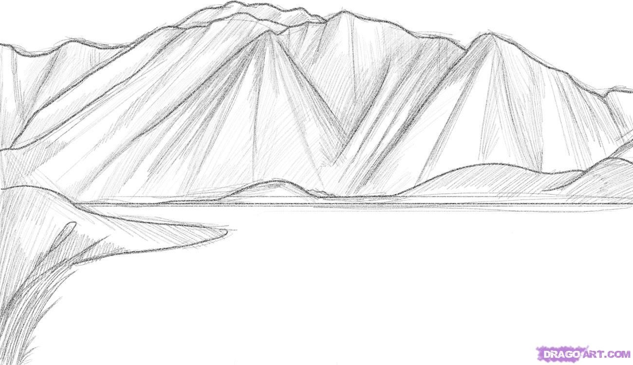 How To Draw Mountains Step By Step Landscapes Landmarks Mountain Drawing Drawing Rocks Mountain Sketch