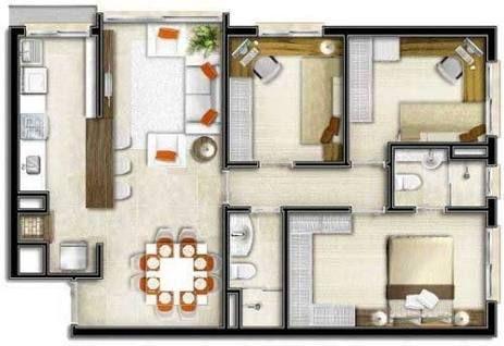 Resultado de imagen para planta de casas 80m2 com garagem for Casa moderna 80m2