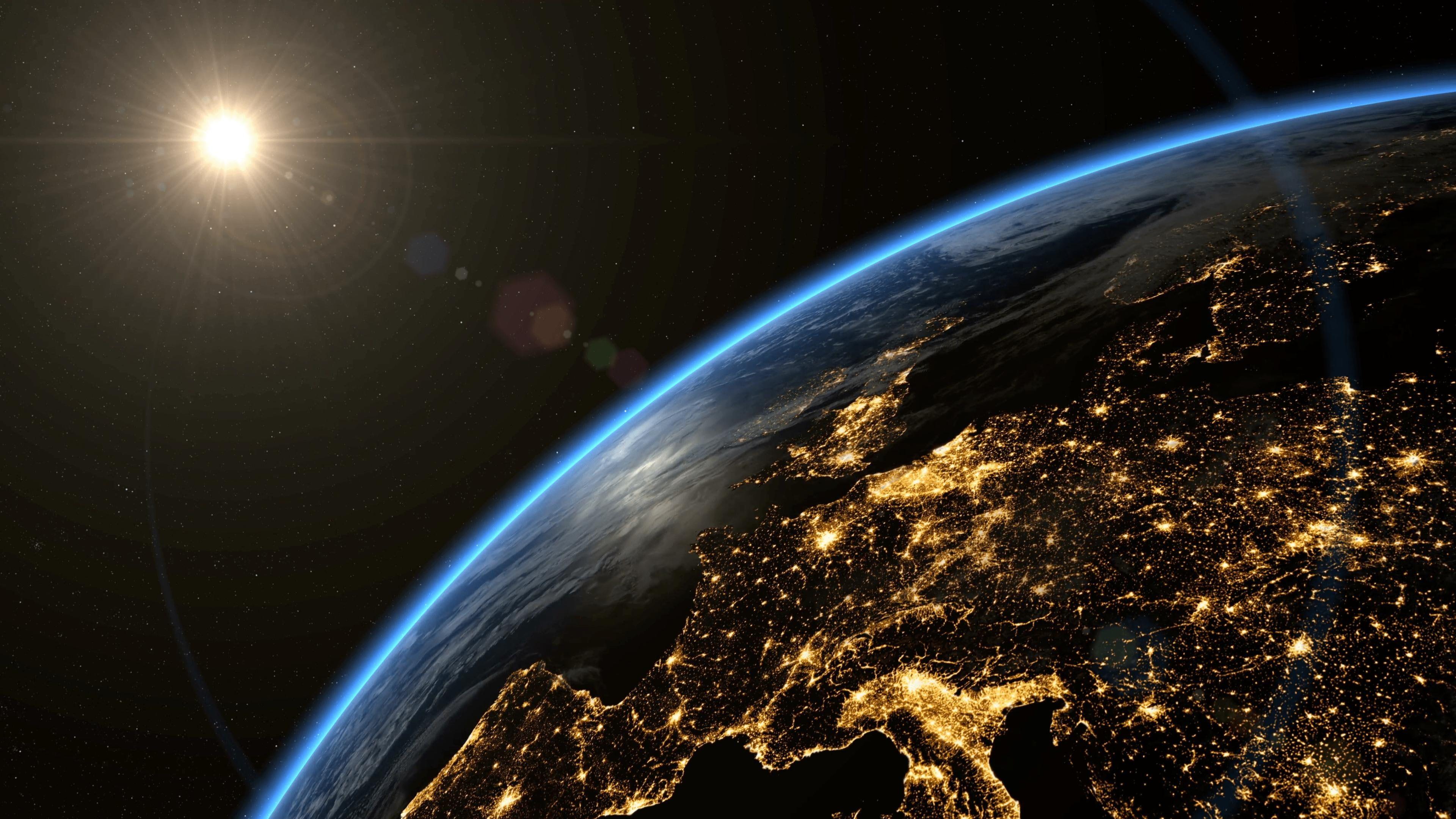 earth satellite imagery lens flare orbit space