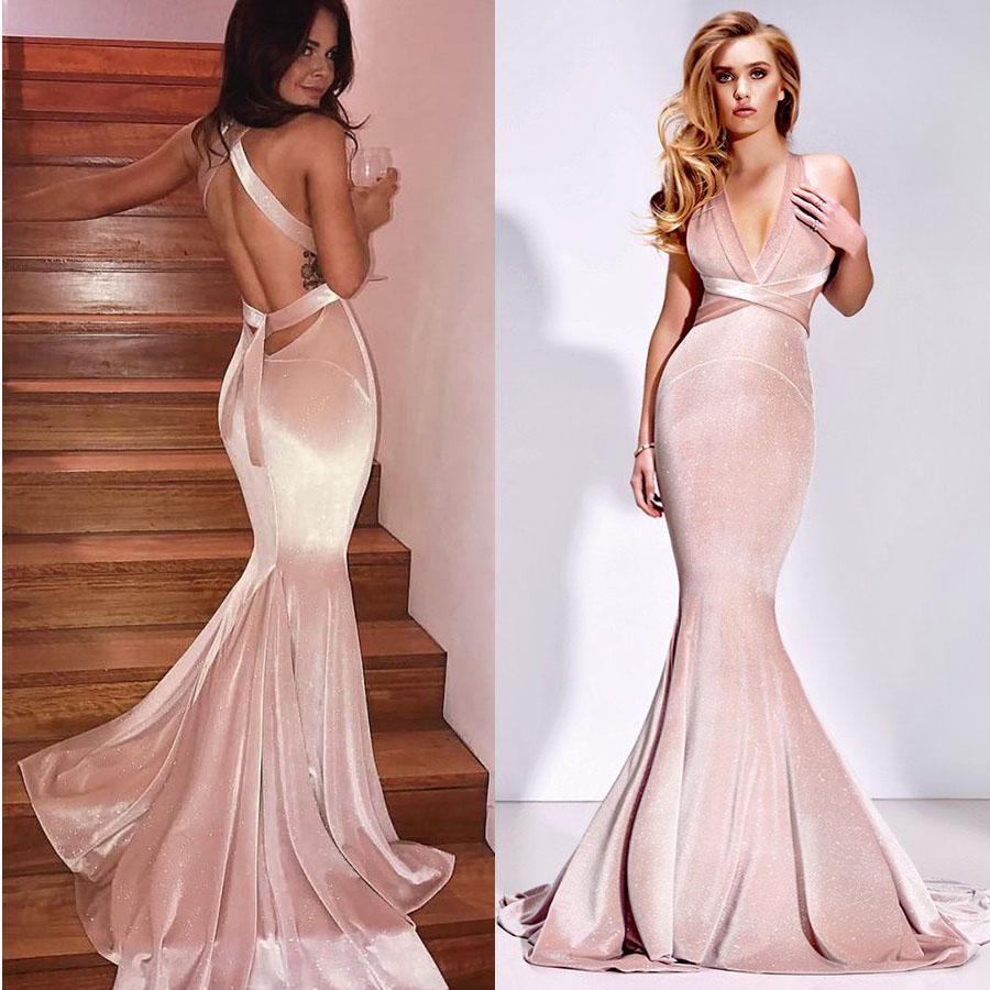 Mermaid deep vneck sweep train blush pink velvet criss cross straps