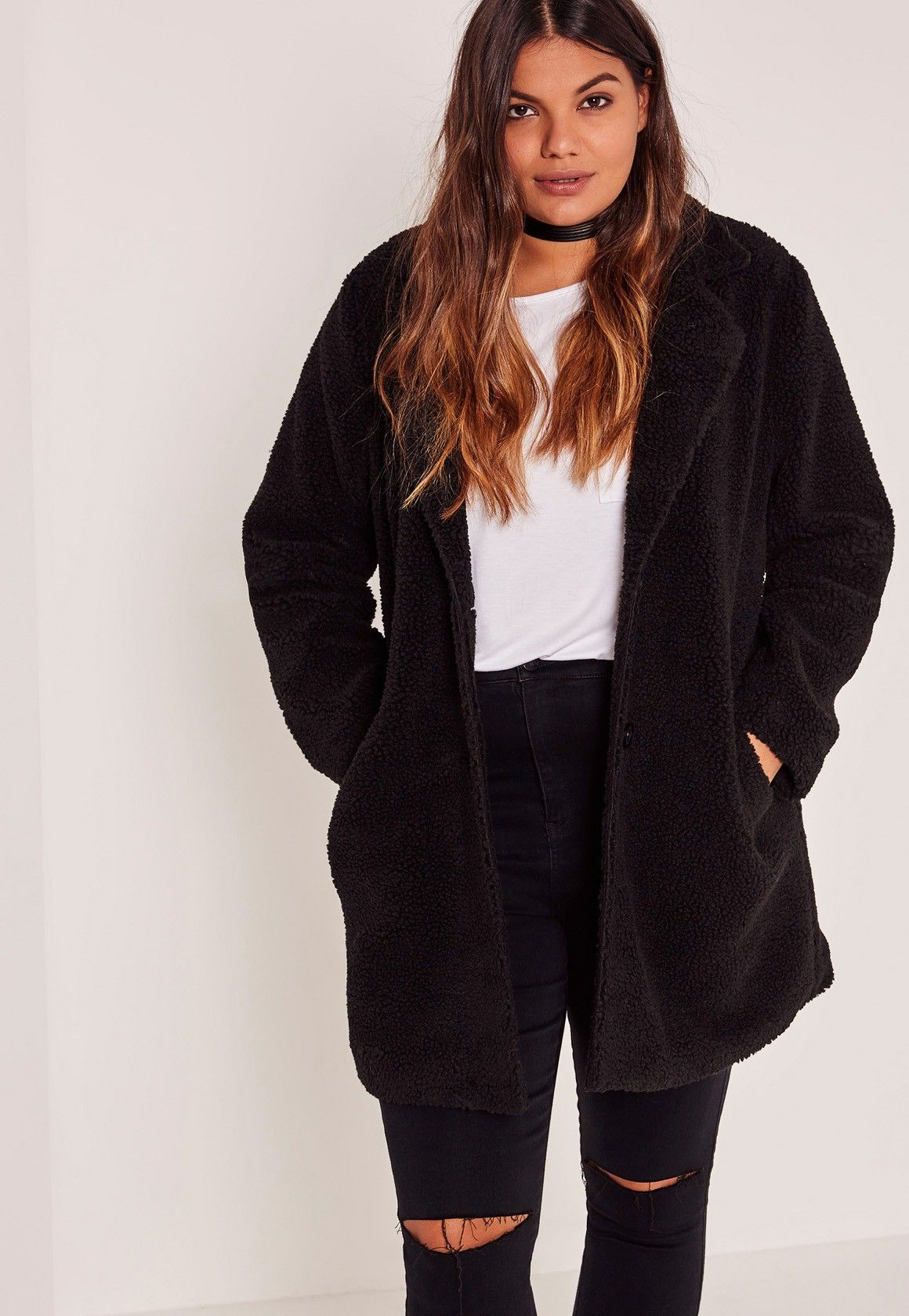 arriving info for official images Missguided - Black Plus Size Faux Shearling Teddy Coat ...