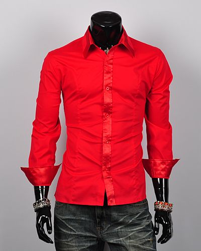 Red Clothes for Men | ... mens-dress-shirts-Casual-shirts-slim-fit ...