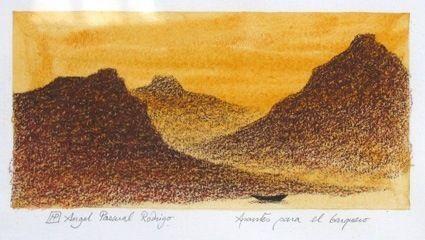 Angel Pascual rodigo lápiz Conté APUNTES PARA EL BARQUERO·2. 1987