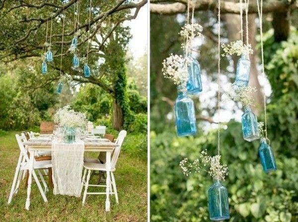 gartentisch hängende dekoration aus flaschen-beleuchtung, Gartenarbeit ideen