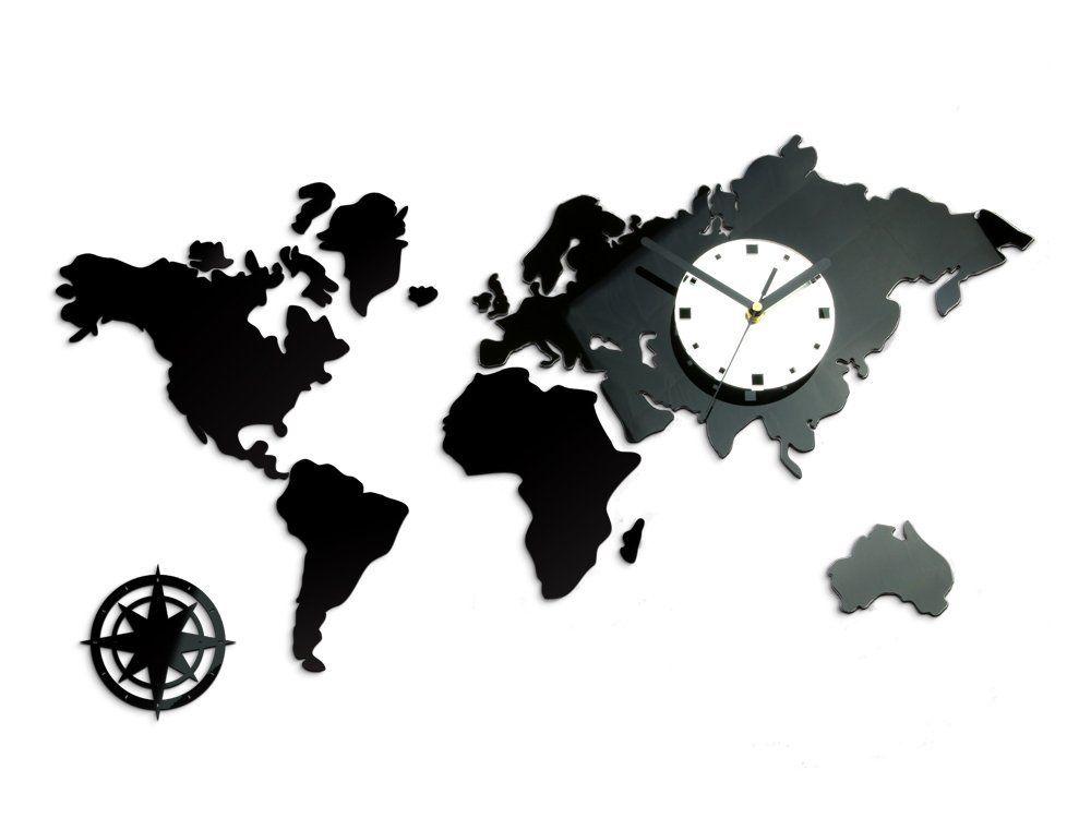 Amazonde Modern Clock World Black Wanduhr, Acryl, schwarz, 70 x 42