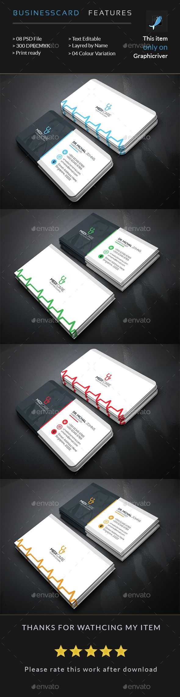 Doctors Business Card — Photoshop PSD #hospital #physician ...