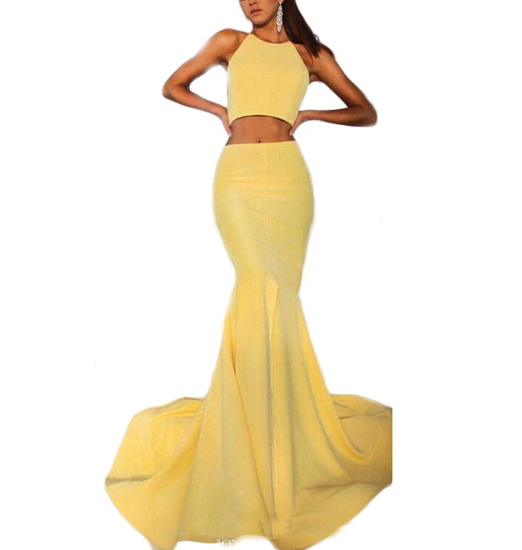 Drehouse womenus sexy pieces mermaid yellow prom dresses long