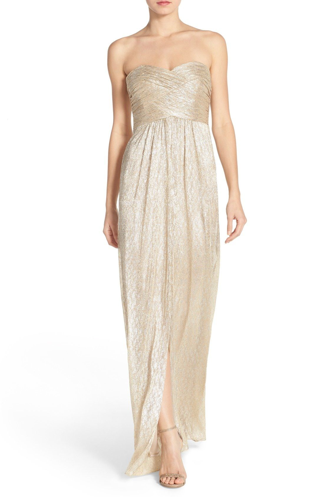 Laundry by Shelli Segal Shirred Metallic Strapless Gown available at ...