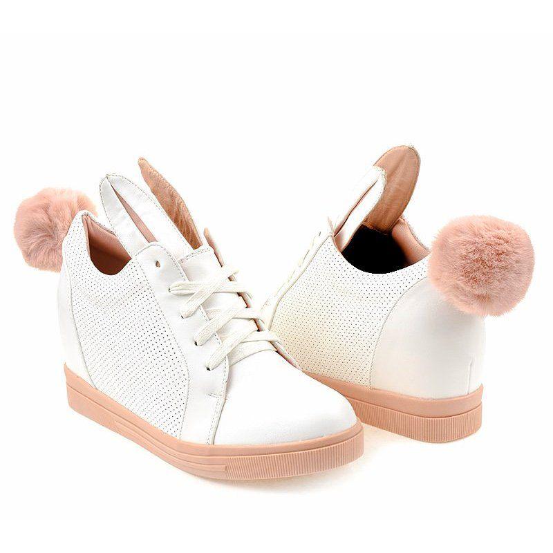 Biale Sneakersy Na Koturnie Kroliczki H6211 9 White Wedge Sneakers Sneakers Boot Shoes Women
