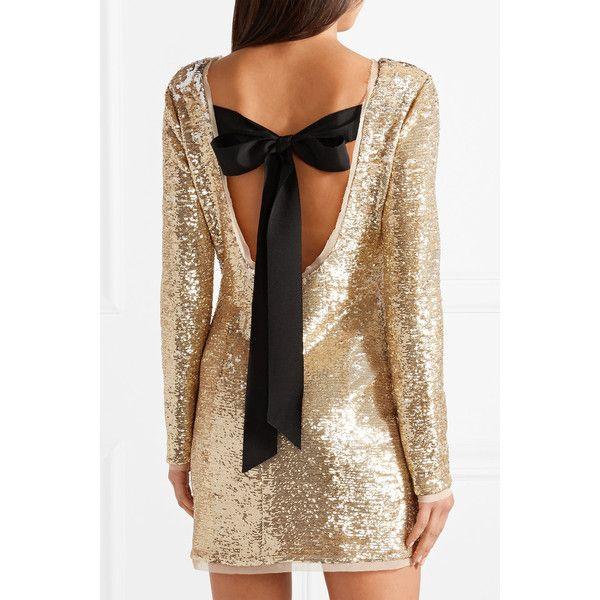 Racko Open-back Sequined Cady Mini Dress - Gold Rachel Zoe MyrOf1YEhn