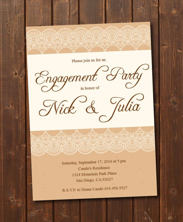 Engagement Invite Templates Extraordinary Printable Rustic Engagement Invitationecard Invite Vintage .