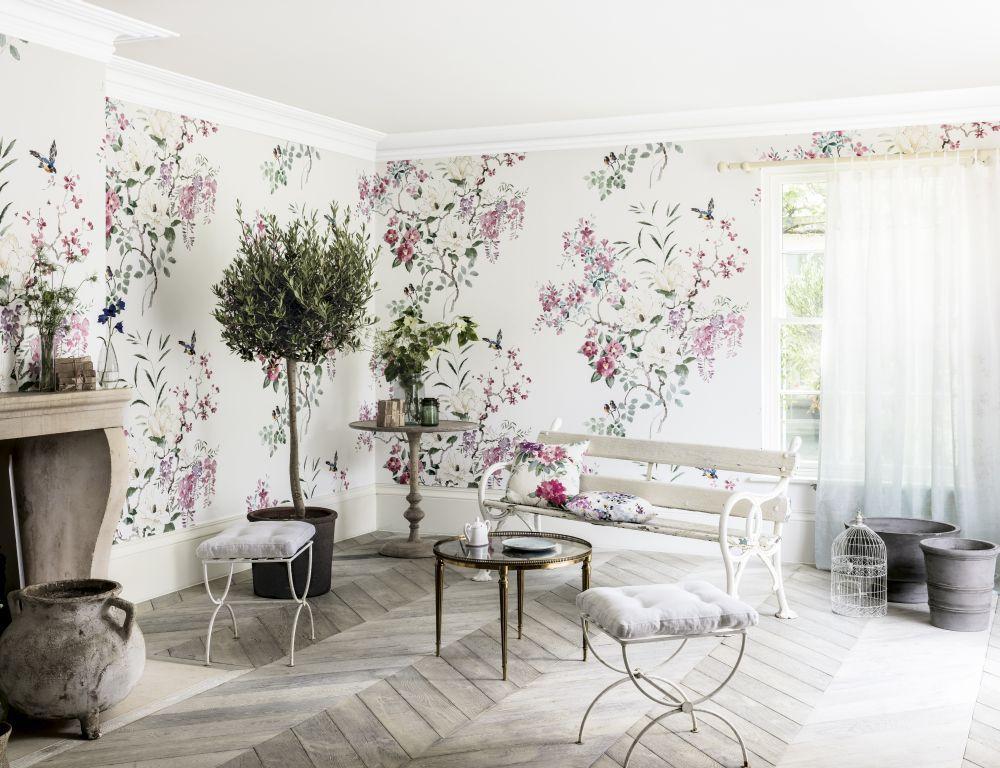 Magnolia & Blossom Panel A by Sanderson Multi Mural